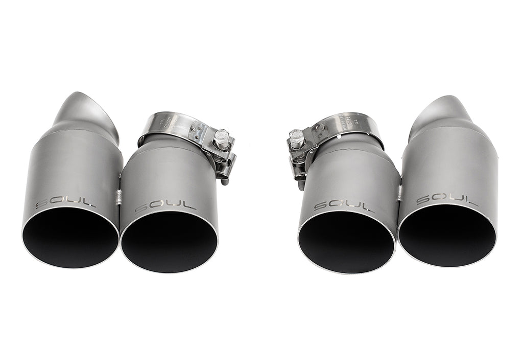 Porsche 991.1 / 991.2 Turbo Bolt On Exhaust Tips -  Straight Cut Single Wall