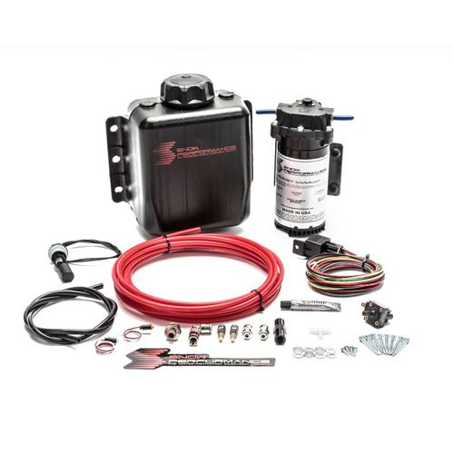 Snow Performance Stage 1 Boost Cooler Forced Induction Water-Methanol Injection Kit (Red High Temp Nylon Tubing, Quick-Connect Fittings)