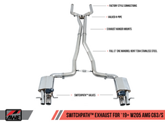 AWE Tuning Mercedes-Benz C63 AMG Sedan (W205) SwitchPath Cat-Back Exhaust - No Tips