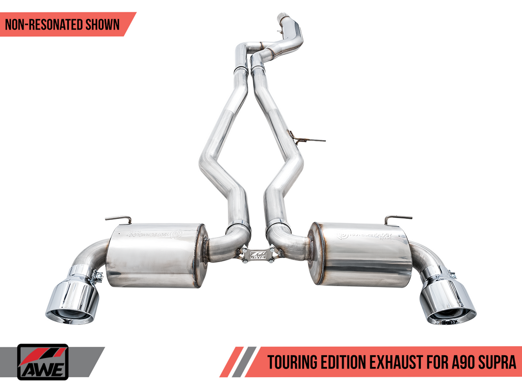 AWE 2020 Toyota Supra A90 Non-Resonated Touring Edition Exhaust - 5in Diamond Black Tips