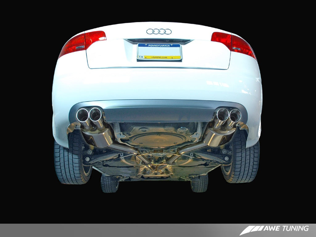 AWE Tuning Audi B7 A4 3.2L Touring Edition Quad Tip Exhaust - Polished Silver Tips