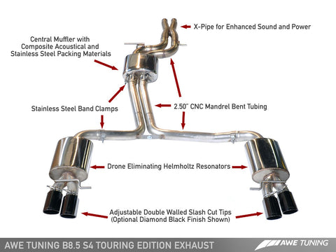 AWE Tuning Audi B8 / B8.5 S4 3.0T Touring Edition Exhaust - Diamond Black Tips (90mm)