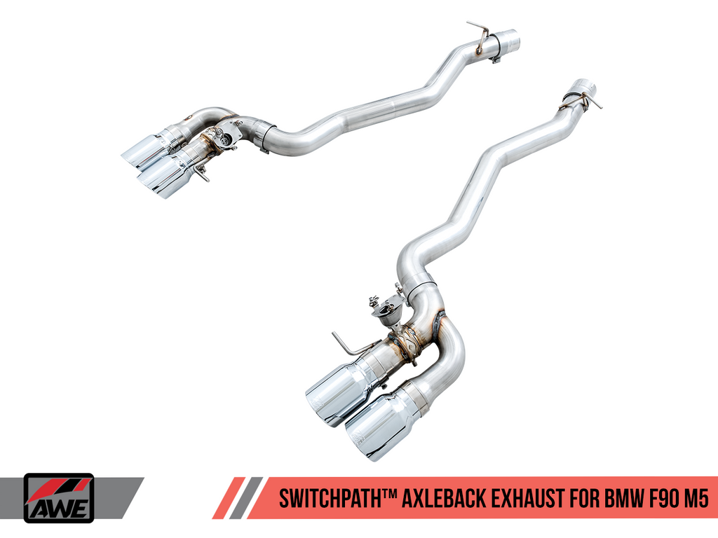 AWE Tuning SwitchPath™ Axleback Exhaust for BMW F90 M5 - Chrome Silver Tips