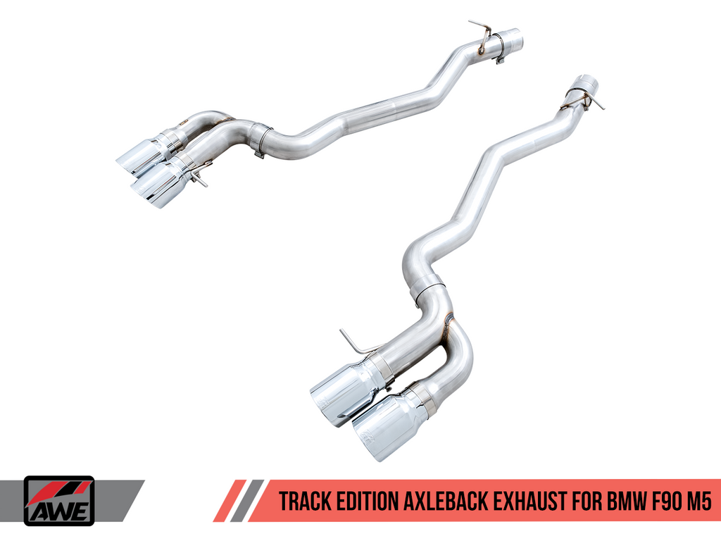 AWE Tuning Track Edition Axleback Exhaust for BMW F90 M5 - Chrome Silver Tips