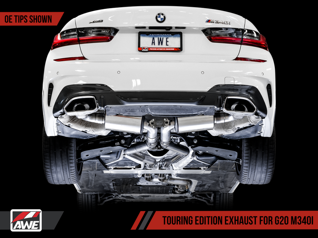 AWE Tuning BMW M340i (G20) Resonated Touring Edition Exhaust - Quad Chrome Silver Tips
