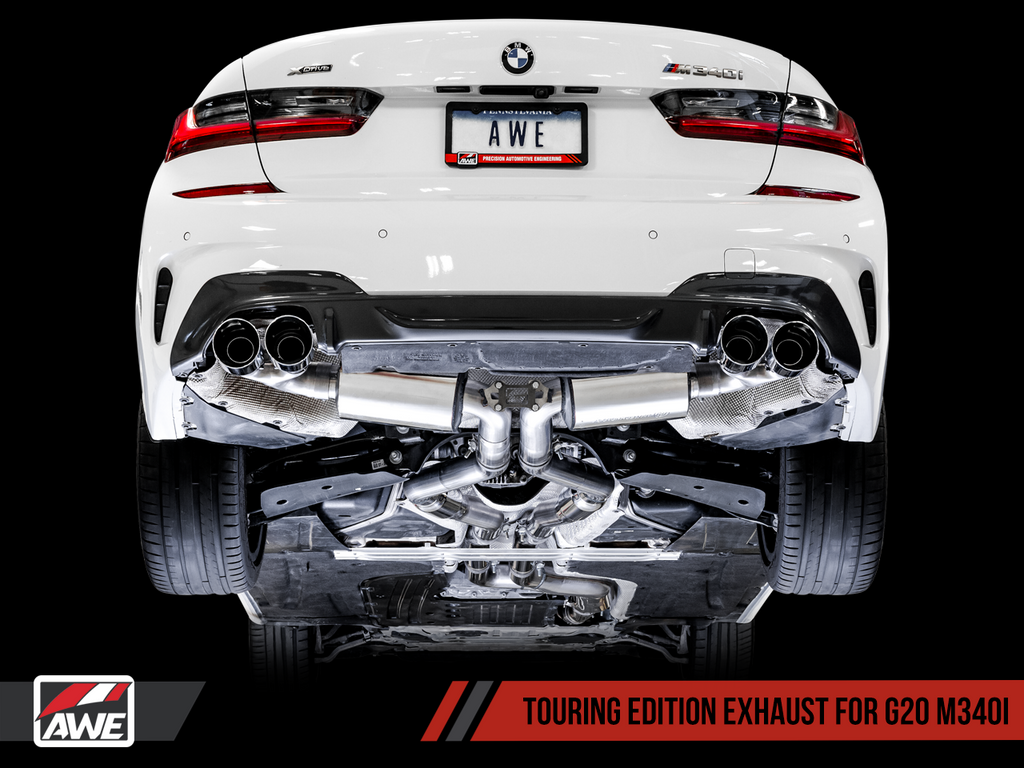 AWE Tuning BMW M340i (G20) Resonated Touring Edition Exhaust - Quad Diamond Black Tips