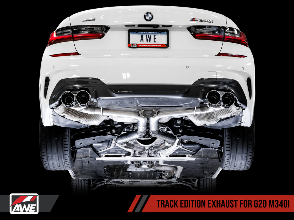 AWE Tuning BMW M340i (G20) Non-Resonated Touring Edition Exhaust - Quad Chrome Silver Tips