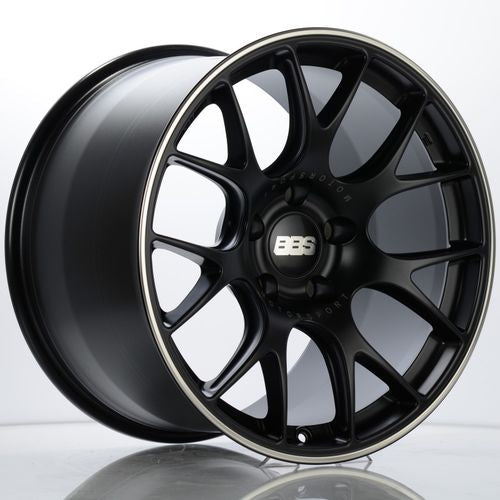 BBS CH-R 112 19x12 5x130 ET45 CB71.6 Satin Black Polished Rim Protector Wheel w/ Motorsport Etching
