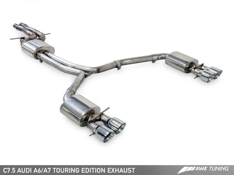 AWE Tuning Audi C7.5 A7 3.0T Touring Edition Exhaust - Quad Outlet Diamond Black Tips
