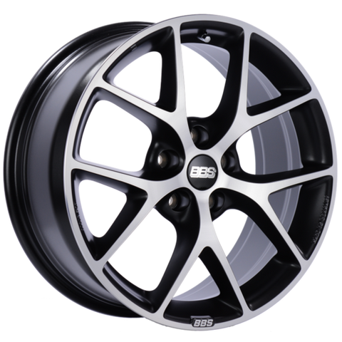 BBS SR 016 18x8 5x112 ET45 Satin Black Diamond Cut Face Wheel -82mm PFS/Clip Required