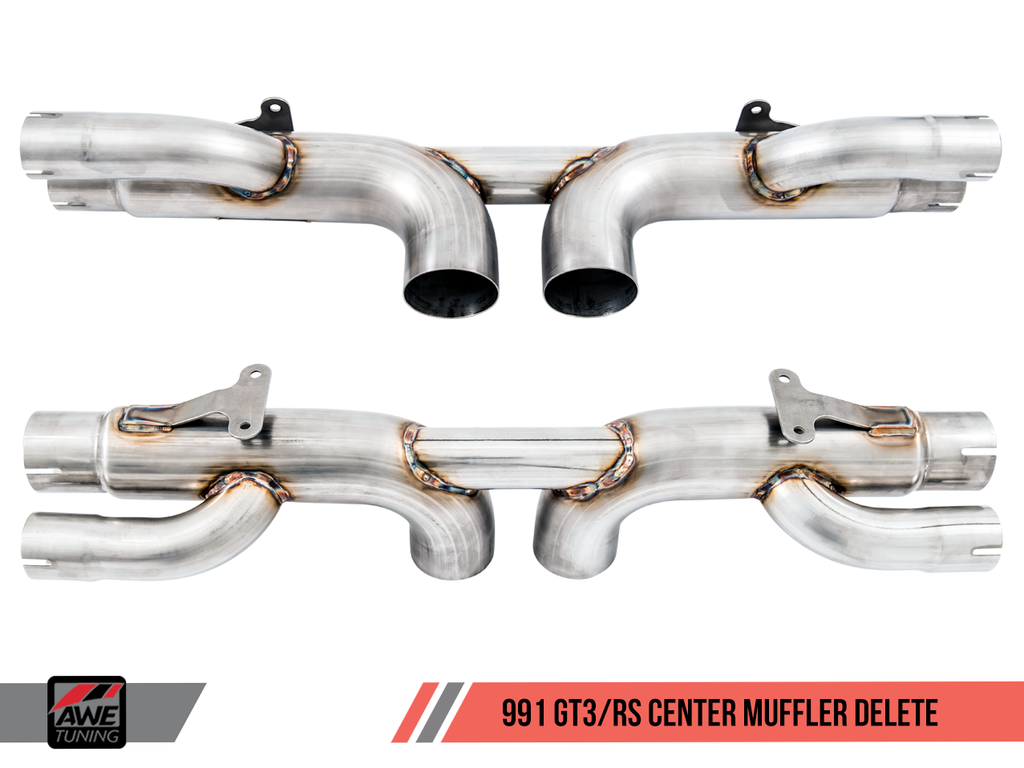 AWE Tuning Porsche 991 GT3 / RS Center Muffler Delete - Chrome Silver Tips