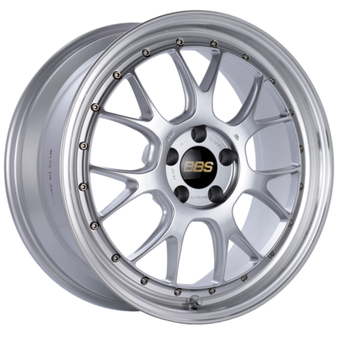 BBS LM-R 322 19x8.5 5x112 ET38 Diamond Silver Center Diamond Cut Lip Wheel -82mm PFS/Clip Required