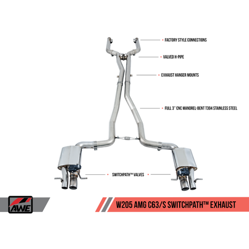 AWE Tuning Mercedes-Benz W205 AMG C63/S Coupe SwitchPath Exhaust System - for Non-DPE Cars (no Tips)