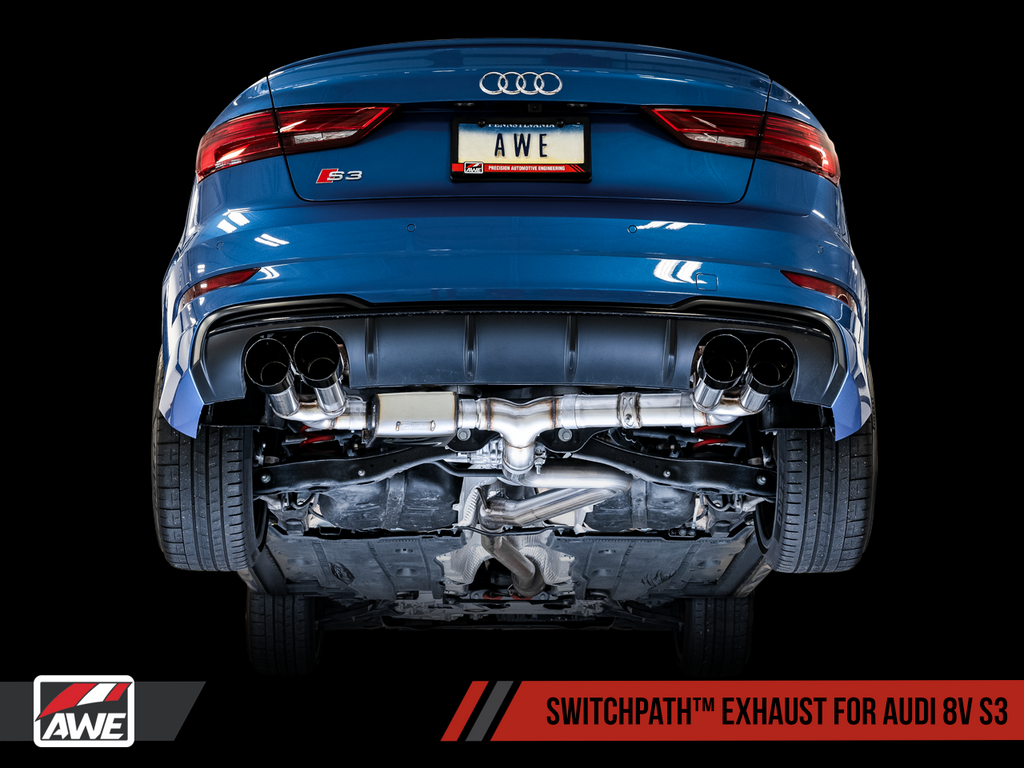 AWE Tuning SwitchPath™ Exhaust for Audi 8V S3 - Chrome Silver Tips, 102mm