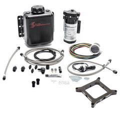 Snow Performance Stage 2.5 Boost Cooler, Carb 4150 Flange, Forced Induction Progressive Water-Methanol Injection Kit (Stainless Steel Braided Line, 4AN Fittings)