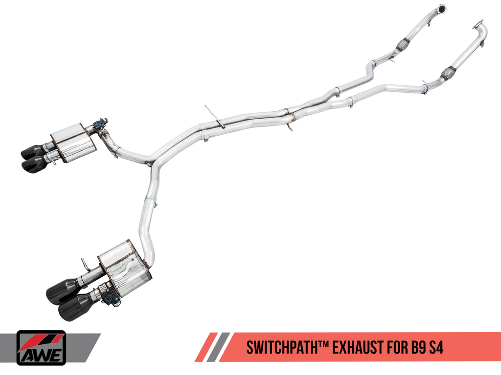 AWE Tuning SwitchPath™ Exhaust for B9 S4 - Resonated for Performance Catalyst - Diamond Black 102mm Tips