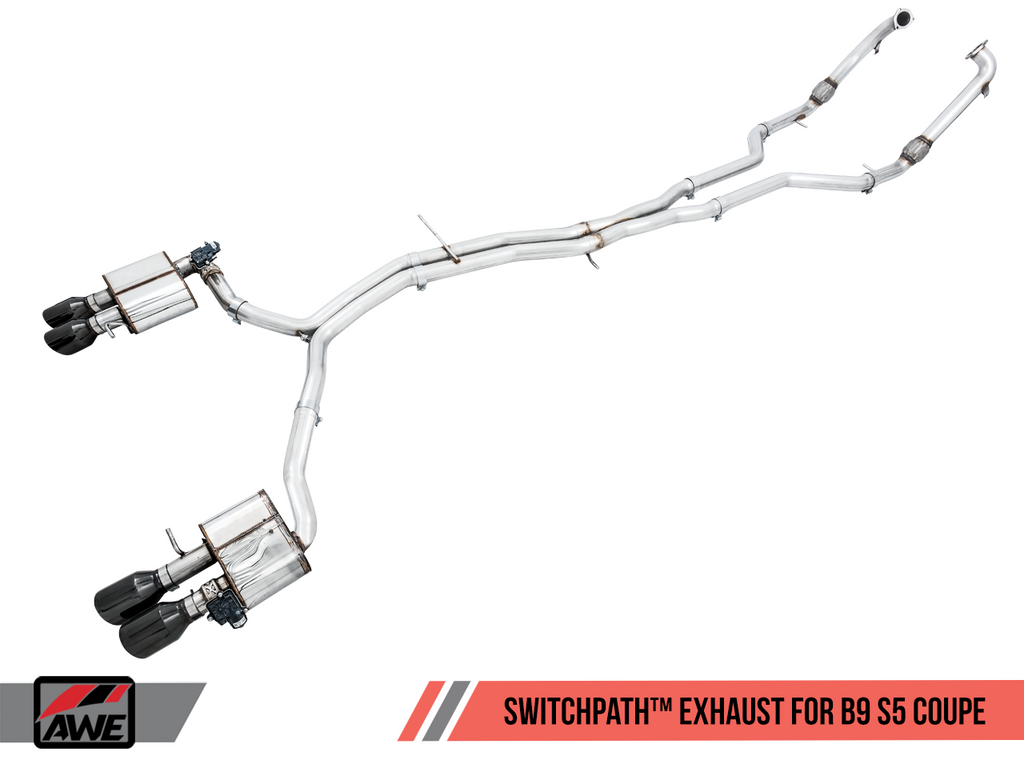 AWE Tuning SwitchPath™ Exhaust for B9 S5 Coupe - Resonated for Performance Catalyst - Diamond Black 90mm Tips
