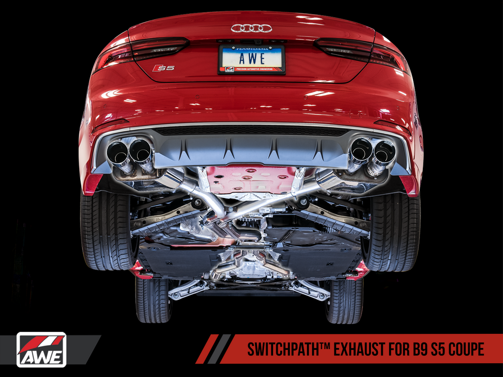 AWE Tuning SwitchPath™ Exhaust for B9 S5 Coupe - Resonated for Performance Catalyst - Chrome Silver 90mm Tips
