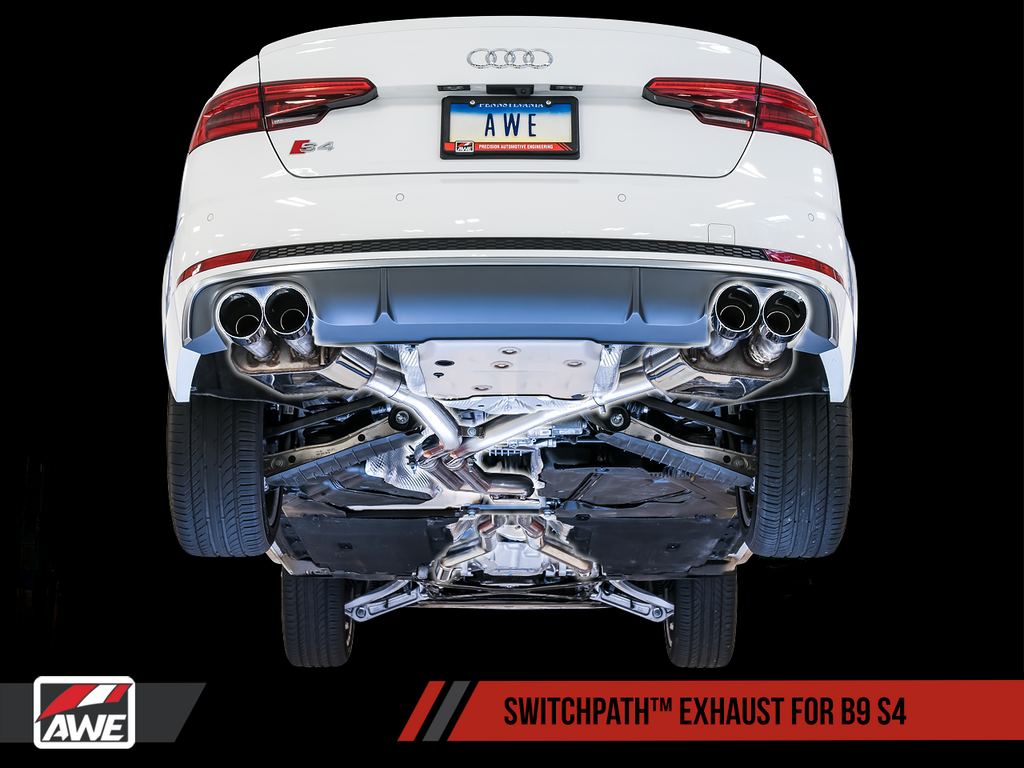 AWE Tuning SwitchPath™ Exhaust for B9 S4 - Resonated for Performance Catalyst - Chrome Silver 90mm Tips