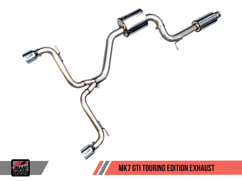 AWE Tuning VW MK7 GTI Touring Edition Exhaust - Chrome Silver Tips