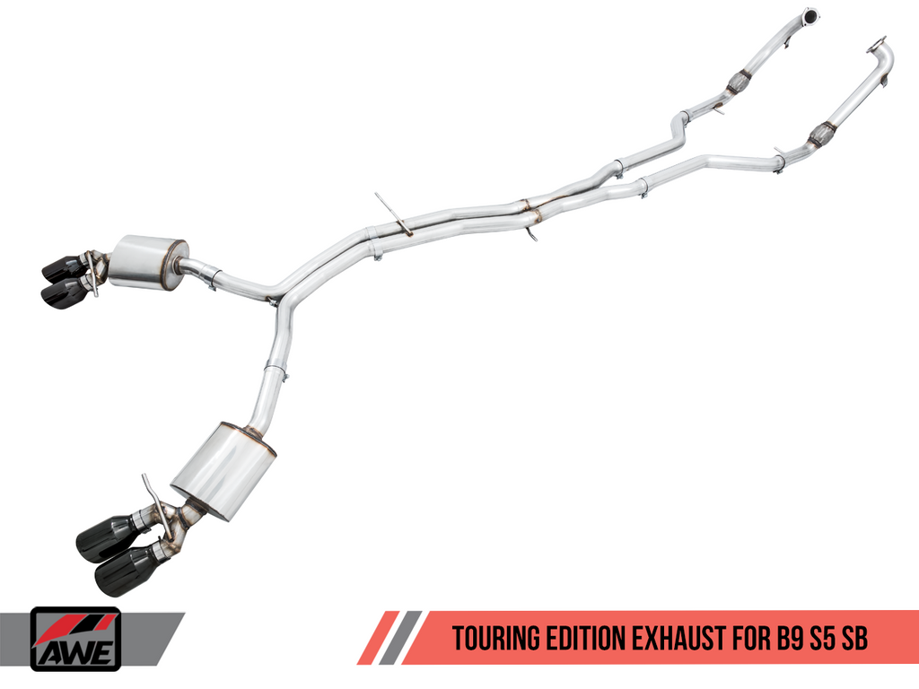 AWE Tuning Touring Edition Exhaust for Audi B9 S5 Sportback - Non-Resonated - Diamond Black 90mm Tips