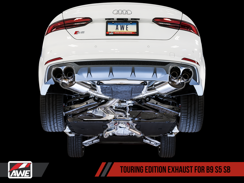 AWE Tuning Touring Edition Exhaust for B9 S5 Sportback - Resonated for Performance Catalyst - Diamond Black 102mm Tips