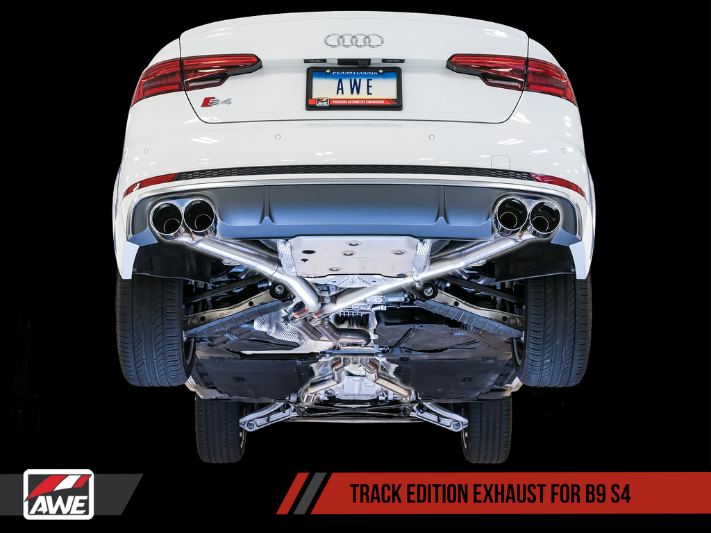 AWE Tuning Audi B9 S4 Track Edition Exhaust - Non-Resonated (Silver 102mm Tips)