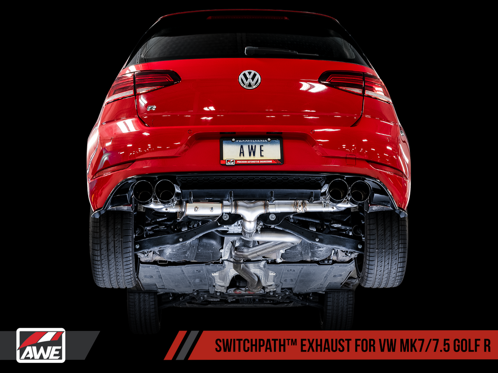 AWE Tuning SwitchPath™ Exhaust for MK7 Golf R - Diamond Black Tips, 102mm