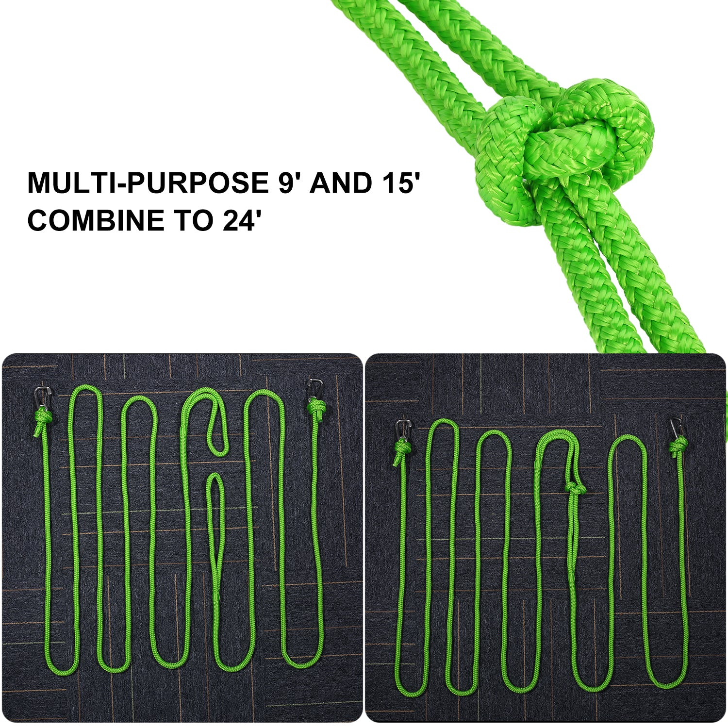 Double Braided PWC Dock Lines with Snap Hook and 12 Spliced Eye  Float On  The Water  2 in 1 Pack 1/2
