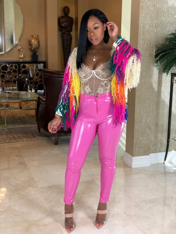 "The""Faux Leather Pink Pants """