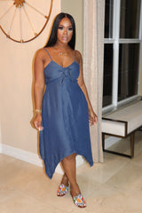 "The ""Dark Denim"" Tie up Dress"