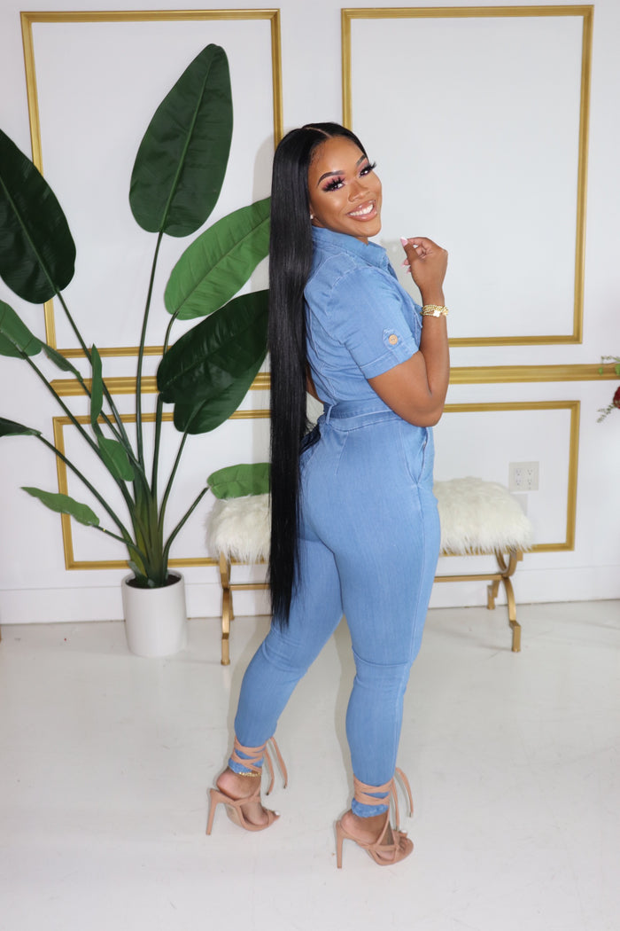 "The ""Girly Girl"" Dark Denim Jumpsuit"