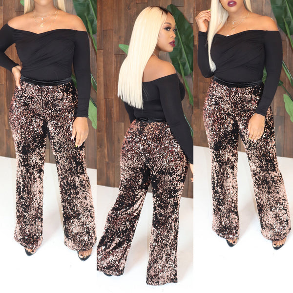 "The ""Holiday"" Bronze Sequin Pants"