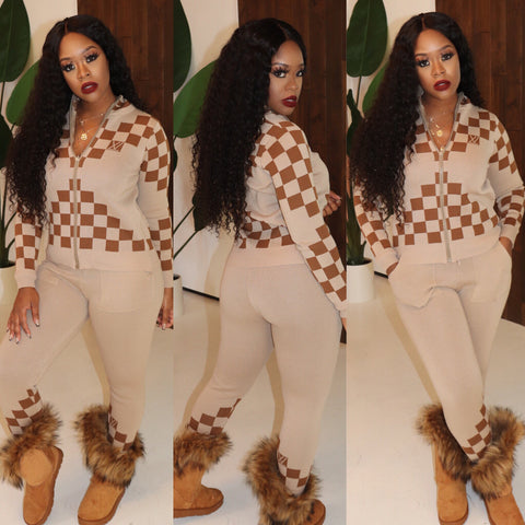 "The ""Checker Board"" Beige Set"
