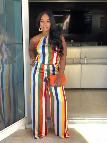 "The ""Let's Have Fun tonight"" halter Multi Jumpsuit"