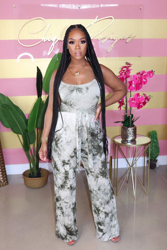 "The ""Chels"" Tye-Dye Olive Jumpsuit"