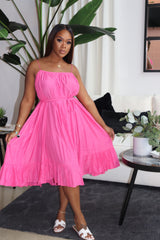 "The ""I'm A Lady"" Pink Pleaded Dress"