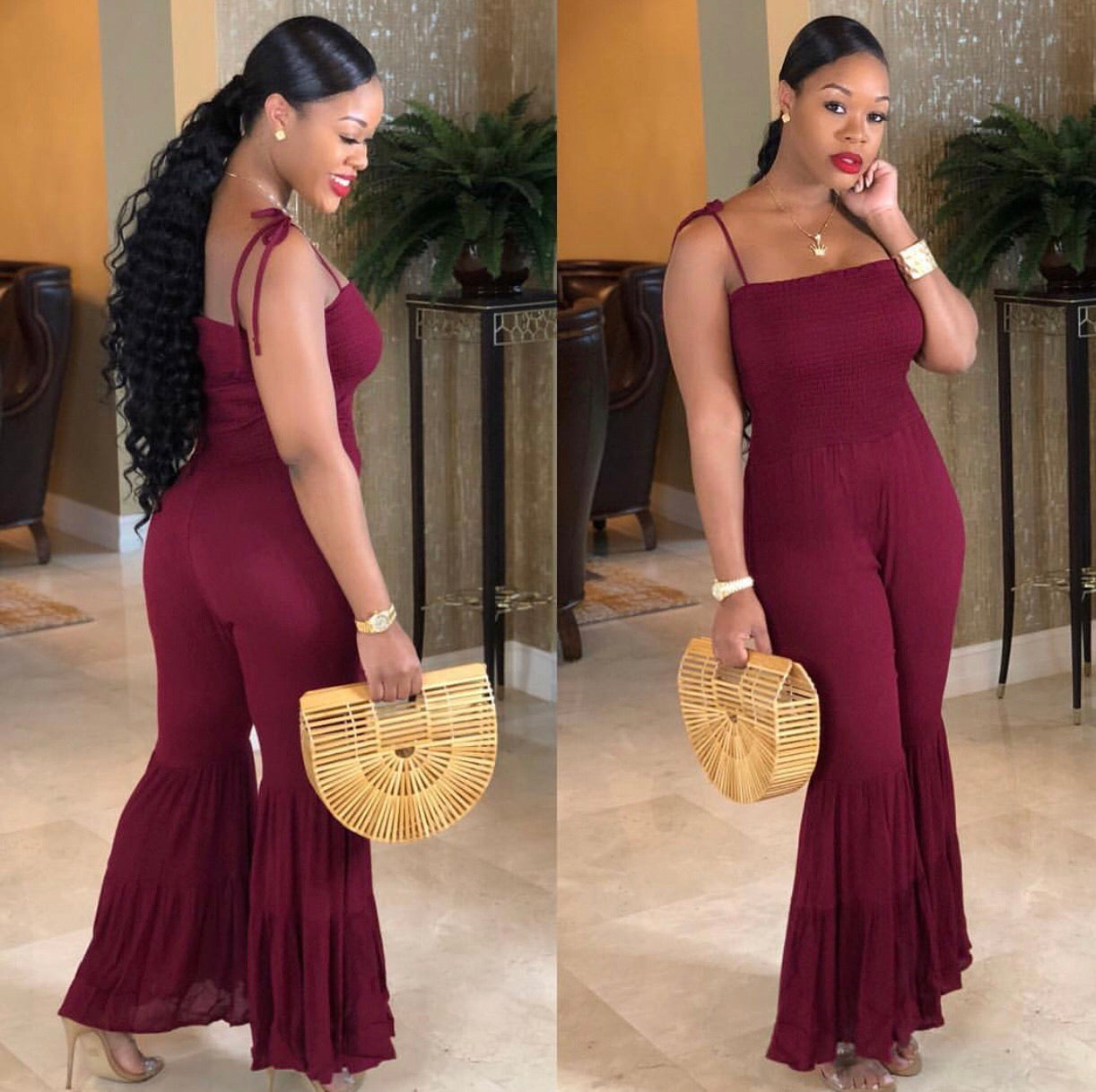 "The ""Burgundy"" Polly Ruffle Jumper"
