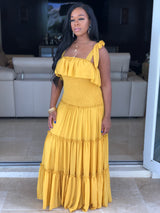 "The ""Daytime"" Mustard Ruffle Dress"