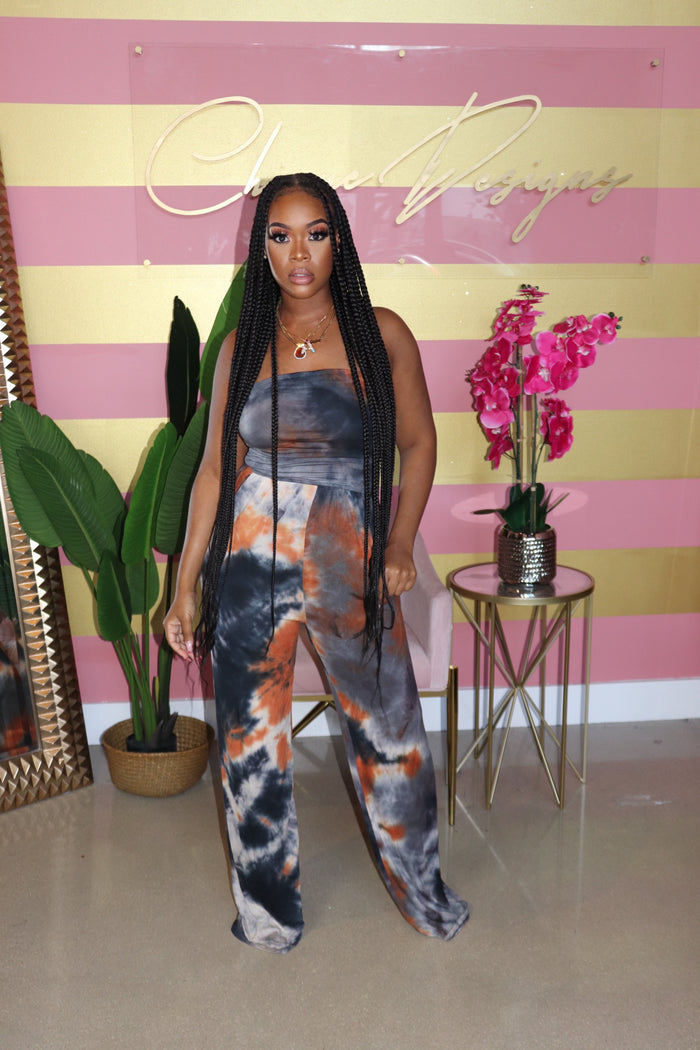 "The ""Cassie"" Orange Tye-Dye Jumpsuit"