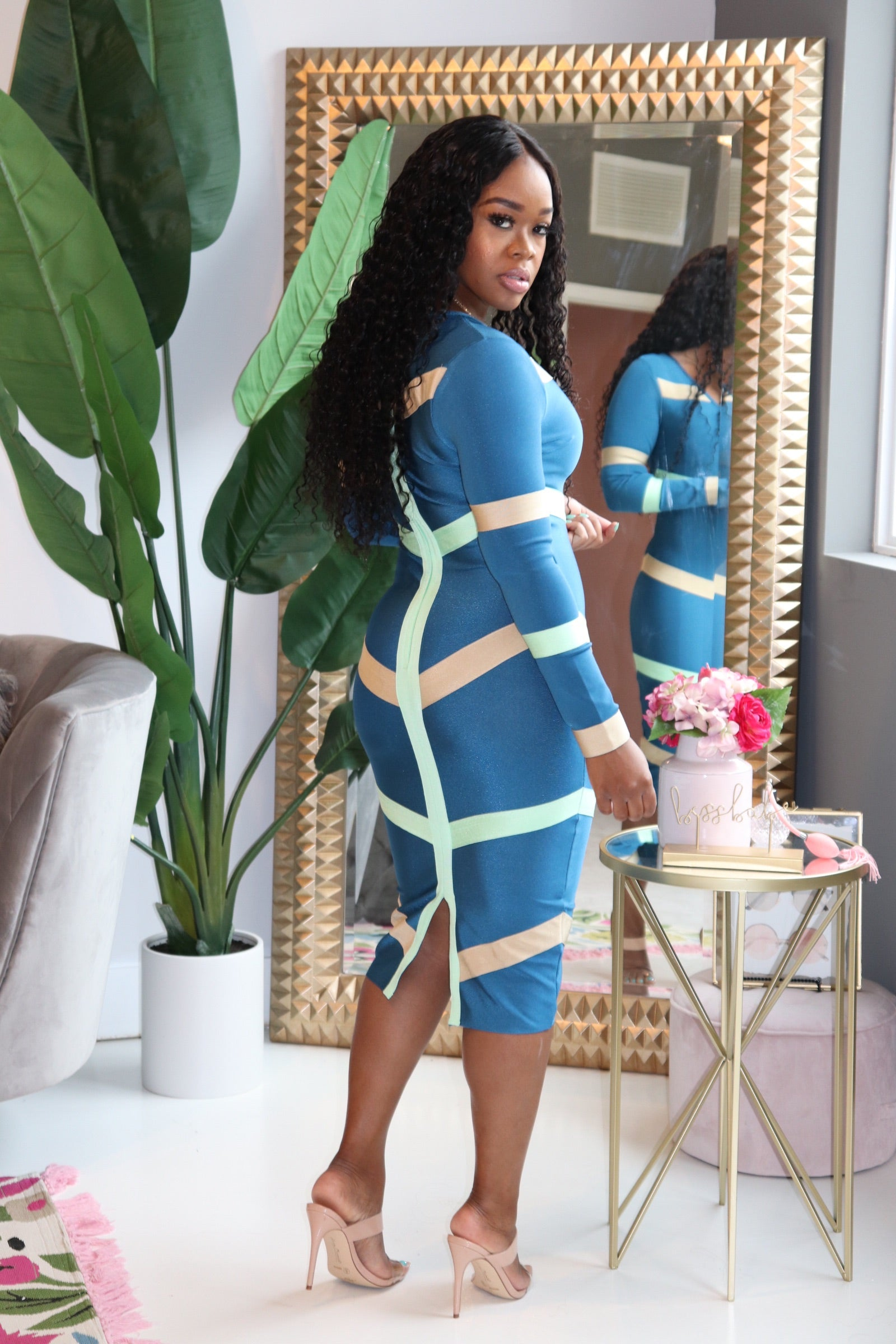 "The ""Fine Dining""  Bandage Blue Color Block Dress"