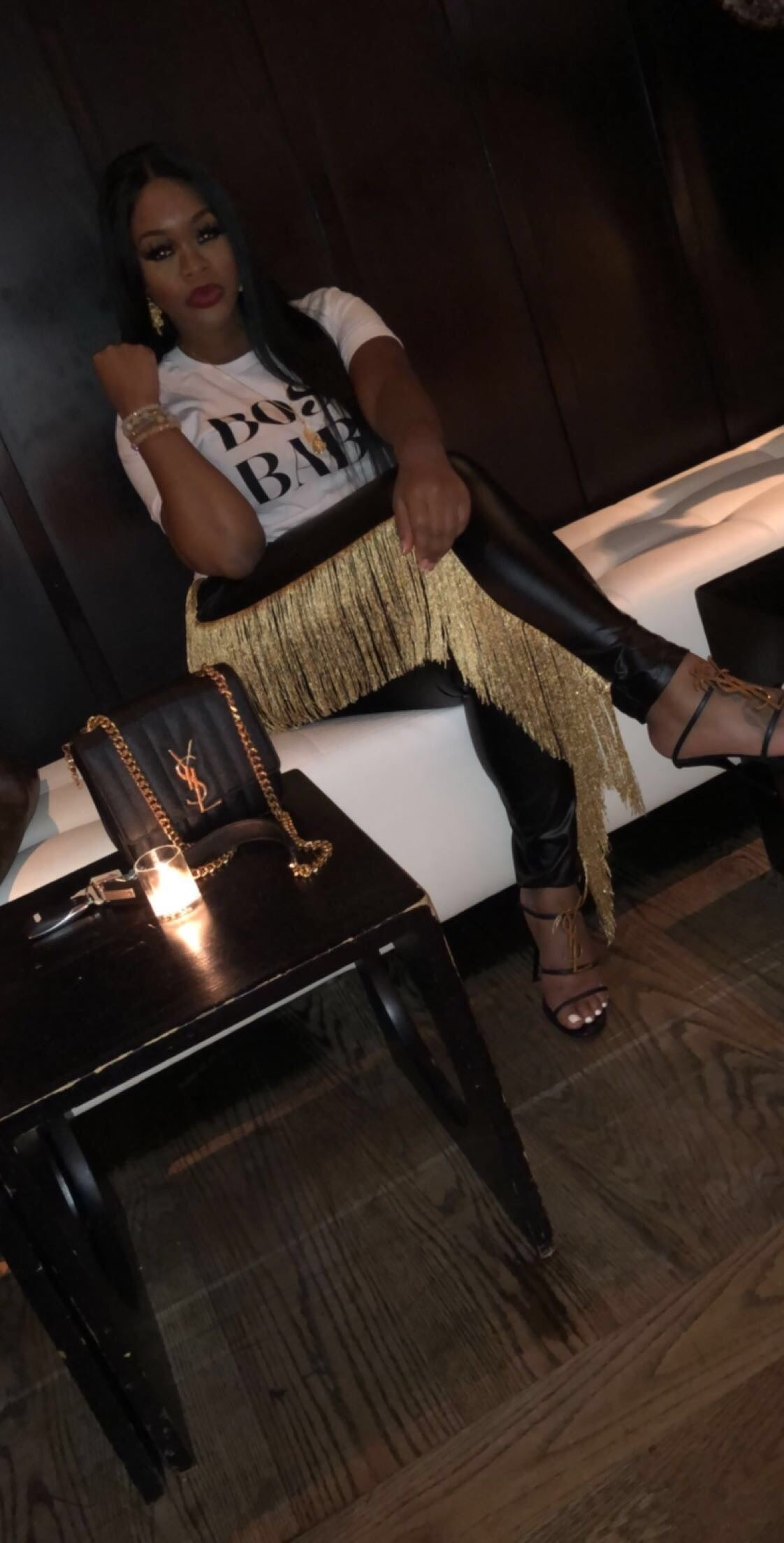 "The ""Show Me Off"" Gold Fringe Pants"
