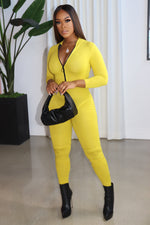 "The ""Keep Me Fly"" Yellow Jumpsuit"