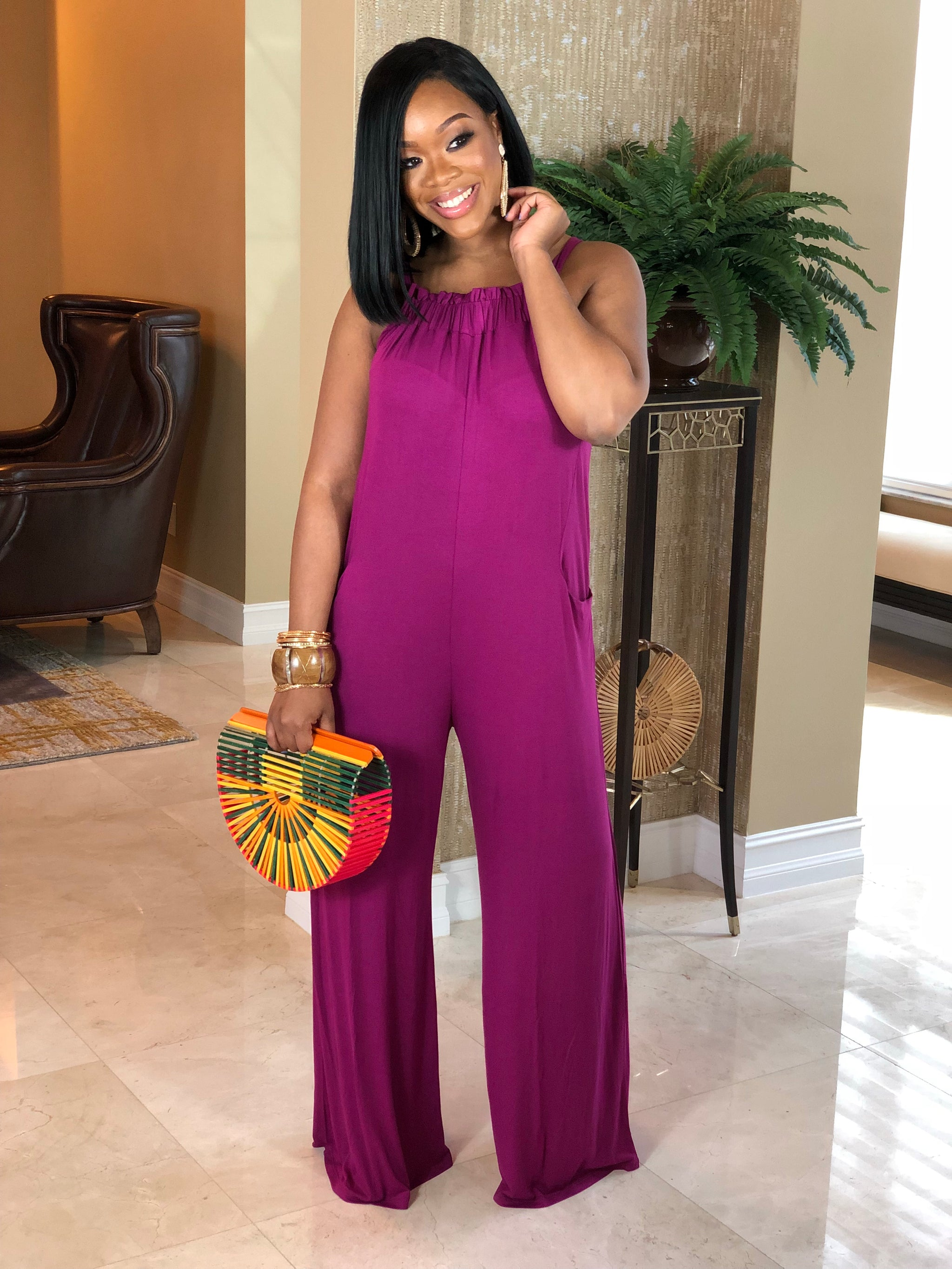 "The ""Lady Weekend"" Magenta Jumpsuit"