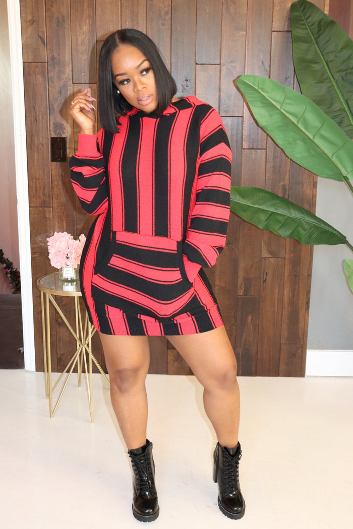 "The ""Red n Black"" Hoodie Dress"