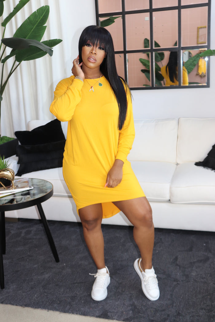 "The ""On the Move"" Mustard Dress"