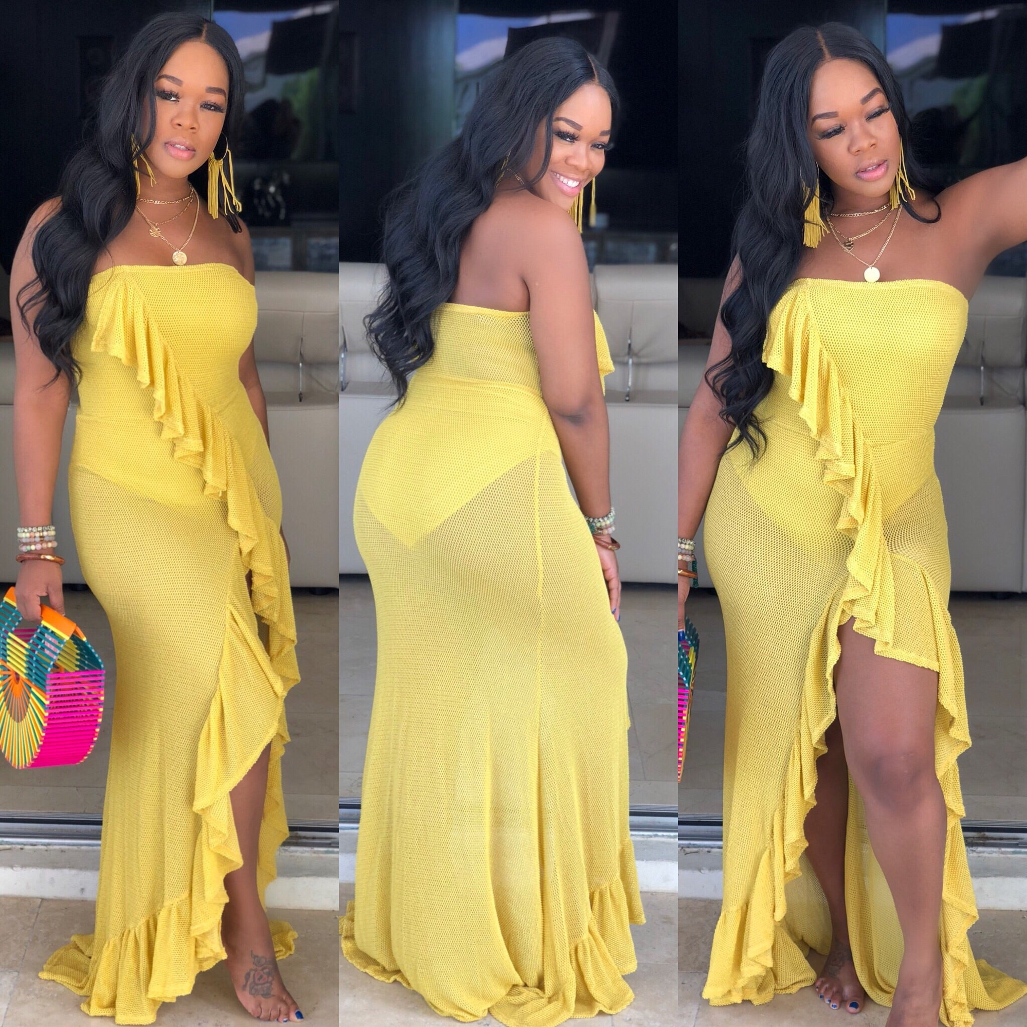 "The ""Diva In Me"" Mustard Ruffle Dress"
