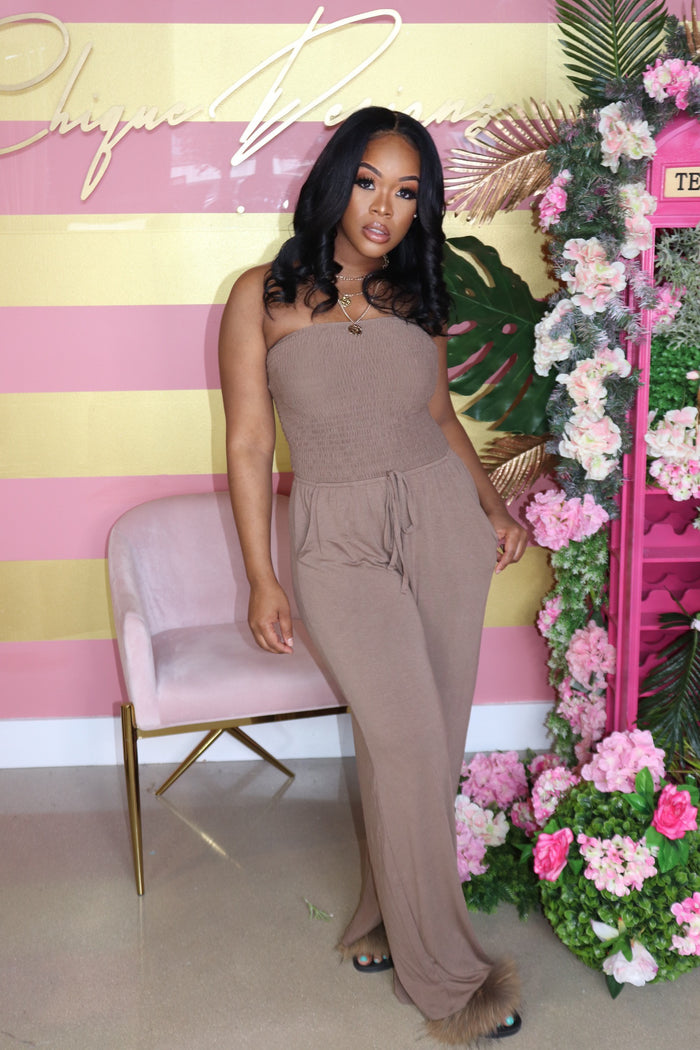 "The ""Me, Myself and I"" Mocha Jumpsuit"