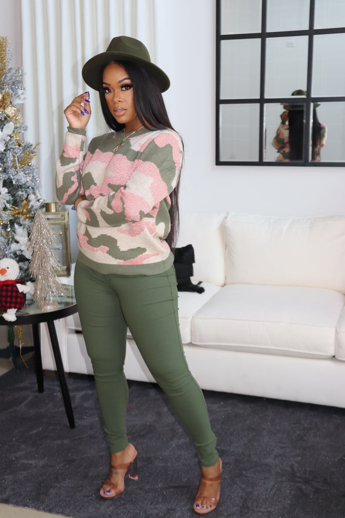 "The ""Olive n Pink"" Sweater"