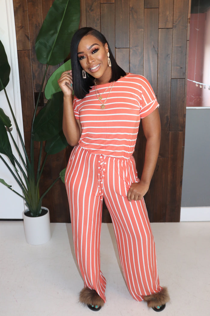 "The ""Comfy Girl"" Ash Copper stripe Jumpsuit"